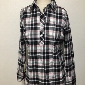 Talbots shirt too size 2 NWT plaid winkle red